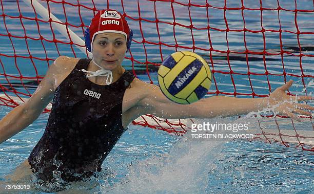 Hungarian Water polo team goalkeeper Patricia Horvath blocks a Russian shoot 31 March 2007 in the Russia vs Hungary women water polo third place...