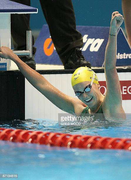 Joanna Fargus of Australia celebrates her victory in the women's 200metres backstroke final at the Commonwealth Games in Melbourne 20 March 2006...