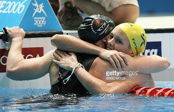 Joanna Fargus of Australia is congratulated by secondplaced Melanie Marshall of England after her victory in the women's 200metres backstroke final...