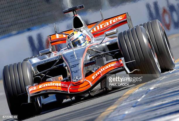 Juan Pablo Montoya of Colombia runs wide in his McLaren Mercedes on to the ripple strips during qualifying for the Australian Formula One Grand Prix...