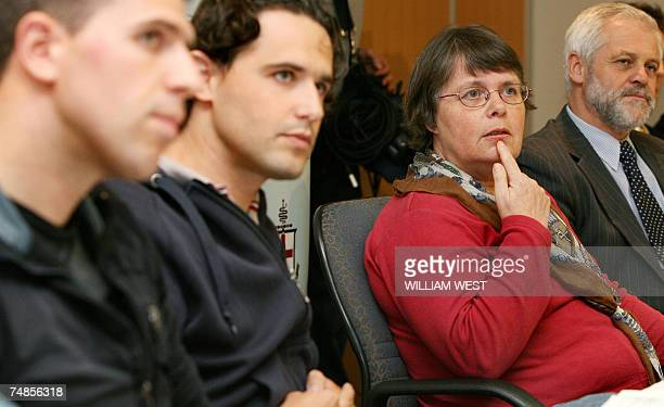 Mother of Dutch backpacker Paul De Waard Marjan Heijnen supported by sons Bart Eric and Dutch consul Hans Niewland speaks to the media at the Royal...