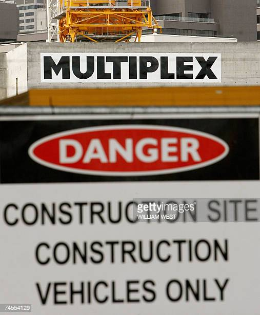 Multiplex signs adorn a construction site in Melbourne's Southbank precinct as Australian property and construction group announced that it backs a...
