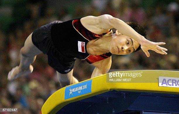 Singapore's Wah Toon Hoe hits the vault during the Men's Qualification of the Artistic Gymnastics at the 2006 Commonwealth Games in Melbourne, 16...