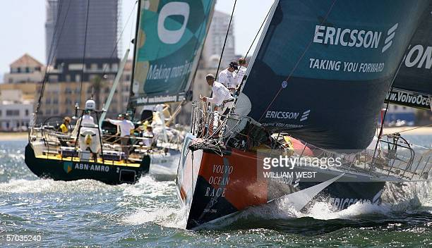Swedish yacht Ericsson skippered by Neal McDonald of England duels at the start with Dutch yacht ABN AMRO TWO as they set sail on the third leg of...