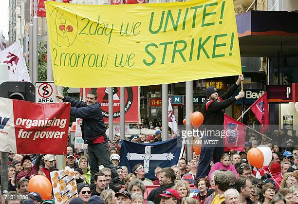 Tens of thousands of worker converge on Melbourne's city centre 28 June 2006 as hundreds of thousands more rallied in cities across Australia...