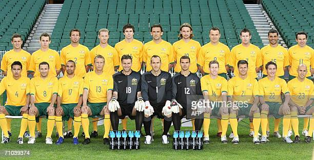 The Australian team for the 2006 World Cup in Germany is photographed before training in Melbourne 24 May 2006 They are back row L to R Jason Culina...
