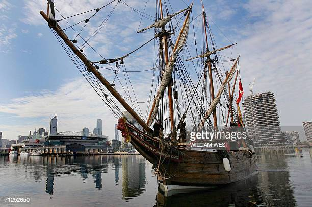 The Duyfken a replica version of a historic 16th century Dutch ship which landed on Australia's northern coast in 1606 arrives in Melbourne 21 June...