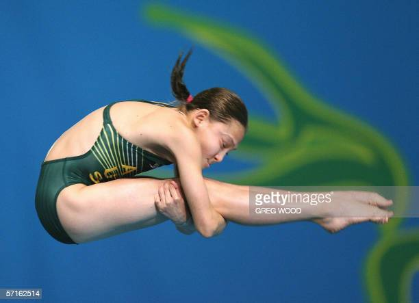 Thirteenyearold Melissa Wu of Australia performs in the Commonwealth Games women's 10m platform preliminary round at the Melbourne Sports and Aquatic...