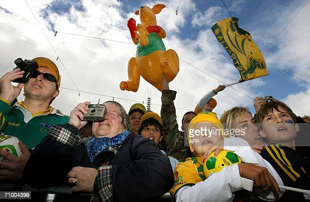 Thousands of Socceroos fans pack into Melbourne's Federation Square, 22 May 2006, to meet the Australian football team as they prepare for the...