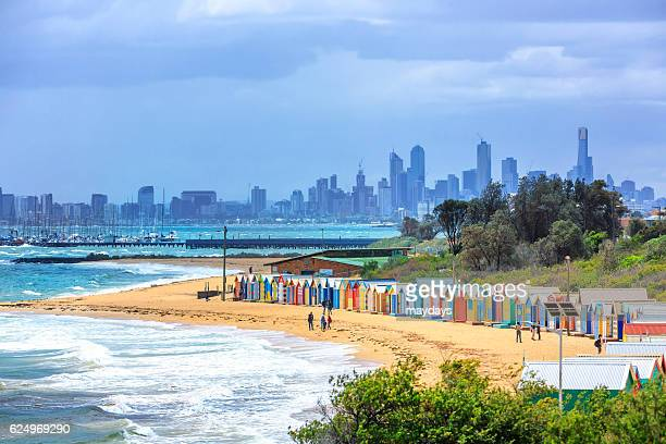 melbourne beach, australia - melbourne australia stock photos and pictures