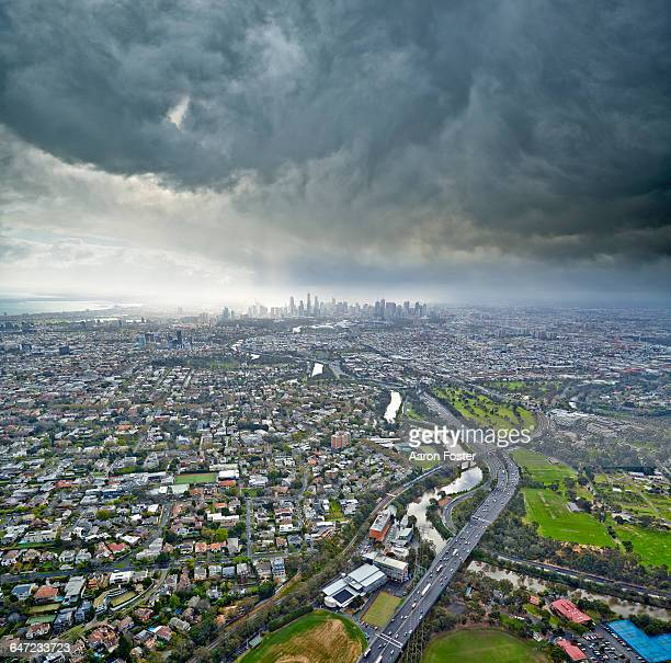 melbourne city aerial - urban sprawl stock pictures, royalty-free photos & images