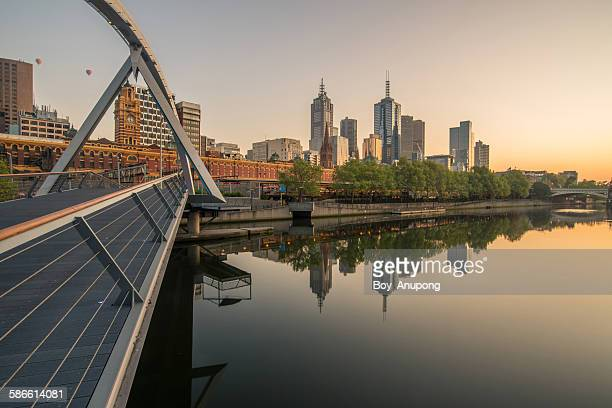 Melbourne city and Yarra river with sunrise