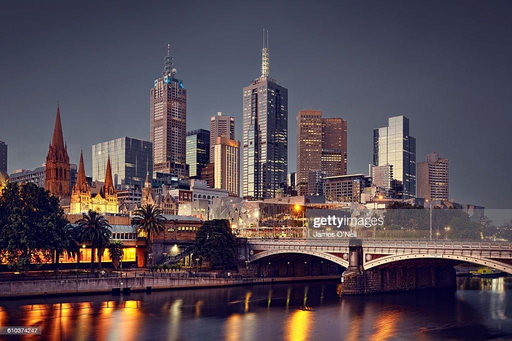 Melbourne City at night : Foto de stock