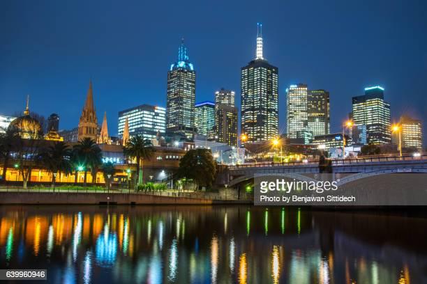Melbourne city at night, Victoria, Australia