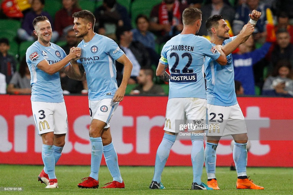 Melbourne City celebrate a Bruno Fornaroli of Melbourne City goal during the round 26 A-League match between Melbourne City and the Central Coast Mariners at AAMI Park on April 7, 2018 in Melbourne, Australia.