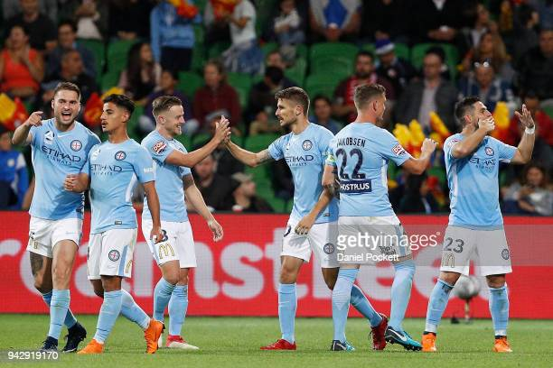 Melbourne City celebrate a Bruno Fornaroli of Melbourne City goal during the round 26 ALeague match between Melbourne City and the Central Coast...