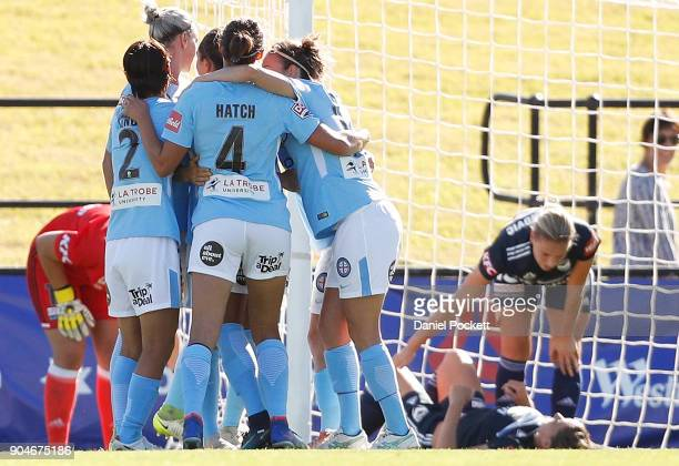 Melbourne City celebrate a goal during the round 11 WLeague match between the Melbourne Victory and Melbourne City at Epping Stadium on January 14...