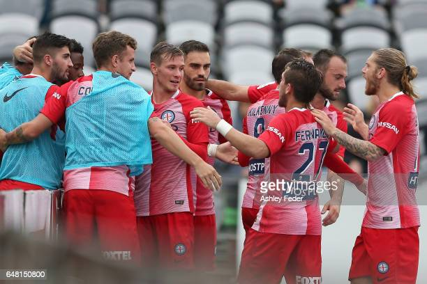 Melbourne City celebrate a goal from Bruno Fornaroli during the round 22 ALeague match between the Central Coast Mariners and Melbourne City FC at...