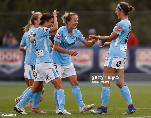 Melbourne City celebrate a goal to Ashley Hatch of Melbourne City during the round ten WLeague match between Melbourne City and Perth Glory at City...