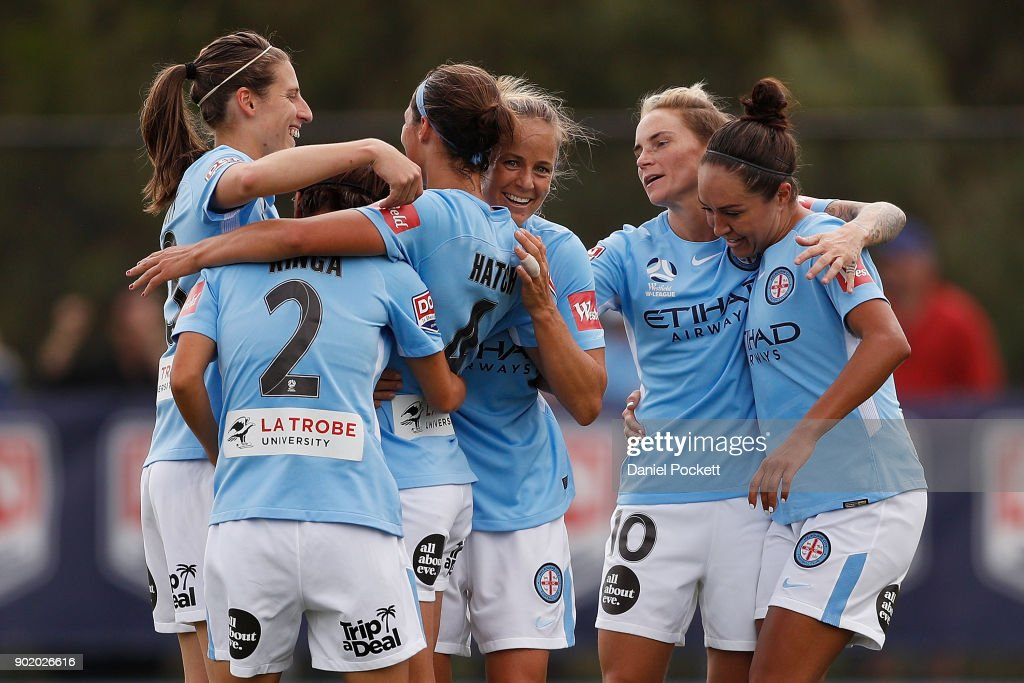 Melbourne City celebrate a goal to Ashley Hatch of Melbourne City during the round ten W-League match between Melbourne City and Perth Glory at City Football Academy, Bundoora on January 7, 2018 in Melbourne, Australia.