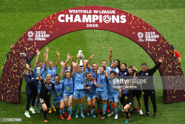 Melbourne City celebrate after winning the 2020 WLeague Grand Final match between Melbourne City and Sydney FC at AAMI Park on March 21 2020 in...
