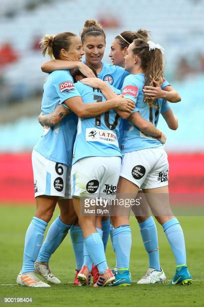 Melbourne City celebrate the goal scored by Jessica Fishlock of Melbourne City during the round nine WLeague match between the Western Sydney...