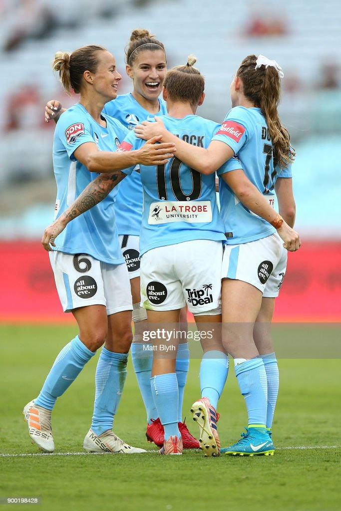 Melbourne City celebrate the goal scored by Jessica Fishlock of Melbourne City during the round nine W-League match between the Western Sydney Wanderers and Melbourne City at ANZ Stadium on January 1, 2018 in Sydney, Australia.
