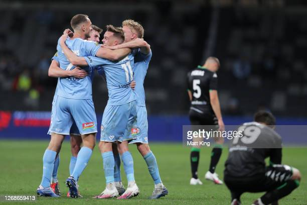Melbourne City celebrate victory at full-time during the A-League Semi Final match between Melbourne City and Western United at Bankwest Stadium on...
