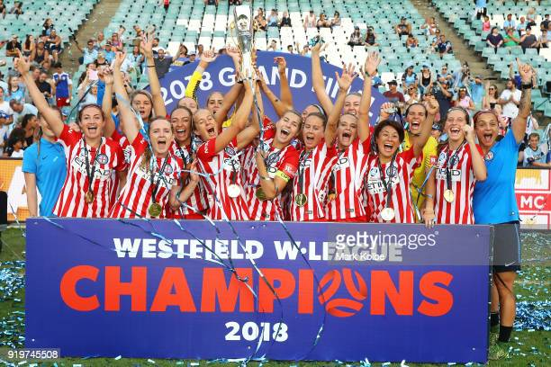 Melbourne City celebrate victory during the W-League Grand Final match betweenSydney FC and Melbourne City FC at Allianz Stadium on February 18, 2018...