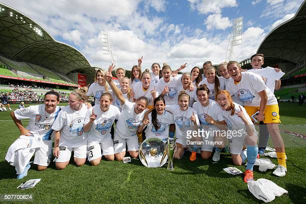 Melbourne City celebrate winning the 2016 W-League Grand Final match between Melbourne Victory and Sydney FC at AAMI Park on January 31, 2016 in...