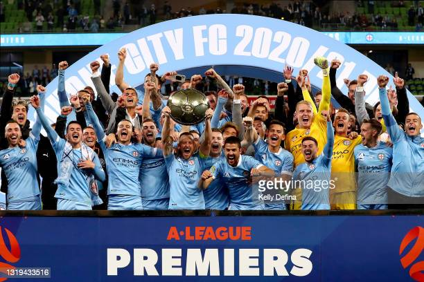 Melbourne City celebrate winning the A-League Premiers Plate during the A-League match between Melbourne City and Central Coast Mariners at AAMI...