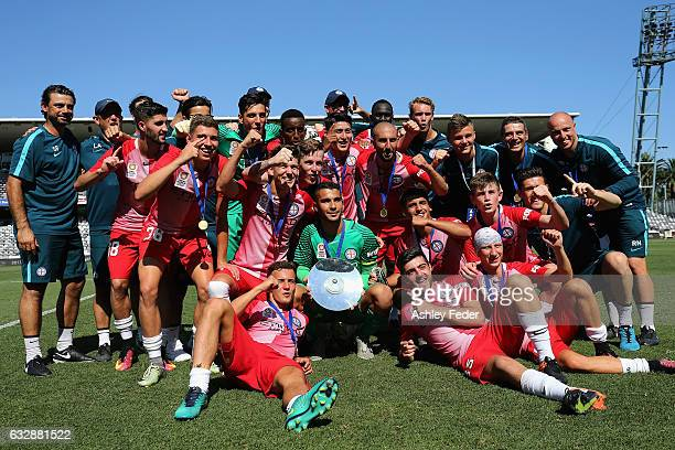 Melbourne City celebrate winning the final during the 2017 Youth League Grand Final match between Melbourne City FC and Sydney FC at Central Coast...