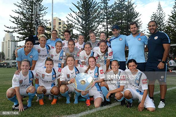 Melbourne City celebrate winning the WLeague Premiership Plate during the round 11 WLeague match between Brisbane Roar and Melbourne City FC at the...