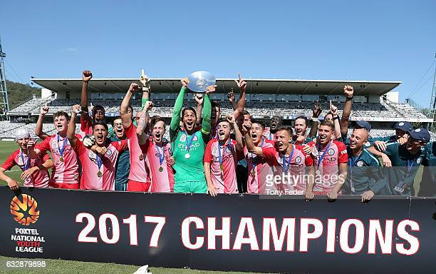 Melbourne City celebrate with the winners trophy during the 2017 Youth League Grand Final match between Melbourne City FC and Sydney FC at Central...