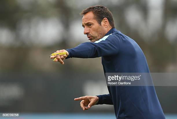 Melbourne City coach John Van't Schip gestures during a Melbourne City ALeague training session at City Football Academy on February 4 2016 in...