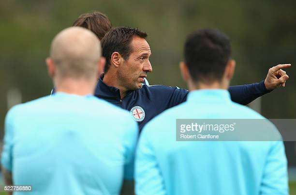 Melbourne City coach John Van't Schip gestures during a Melbourne City ALeague training session at City Football Academy on April 21 2016 in...