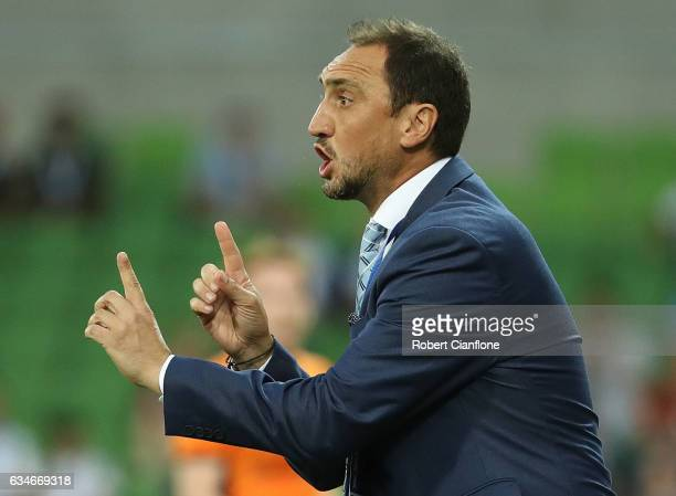 Melbourne City Coach Michael Valkanis gestures during the round 19 ALeague match between Melbourne City FC and the Brisbane Roar at AAMI Park on...