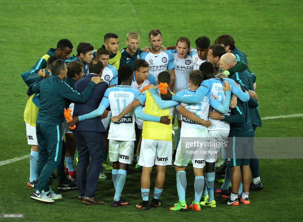 Melbourne City Coach Michael Valkanis speaks to his players after the round 19 A-League match between Melbourne City FC and the Brisbane Roar at AAMI Park on February 11, 2017 in Melbourne, Australia.