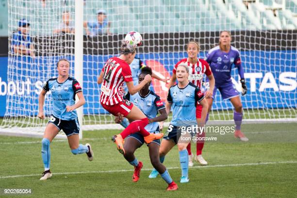 Melbourne City defender Alanna Kennedy goes up for the ball at the WLeague Soccer Grand Final between Sydney FC and Melbourne City at Allianz Stadium...