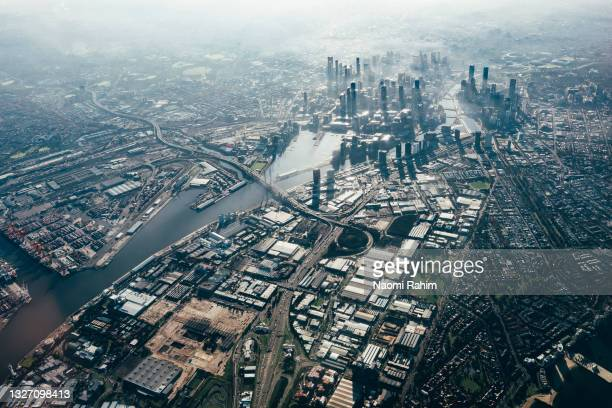 melbourne city early morning aerial view - docklands stadium melbourne stock pictures, royalty-free photos & images