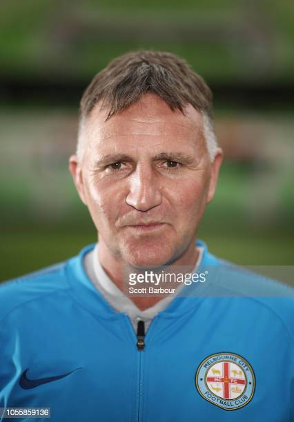 Melbourne City FC Head Coach Warren Joyce poses during a Melbourne City ALeague media opportunity at AAMI Park on November 1 2018 in Melbourne...