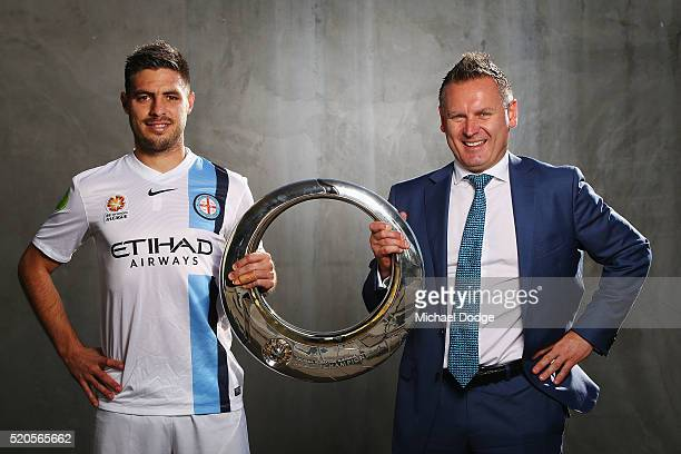 Melbourne City FC player Bruno Fornaroli and Damien de Bohun Head of Hyundai ALeague pose with the Hyundai ALeague Championship Trophy during a...