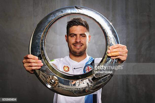 Melbourne City FC player Bruno Fornaroli poses with the Hyundai ALeague Championship Trophy during a Melbourne City FC ALeague finals media...