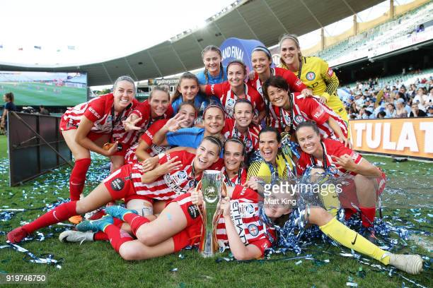 Melbourne City FC players celebrate victory during the WLeague Grand Final match between Sydney FC and Melbourne City FC at Allianz Stadium on...