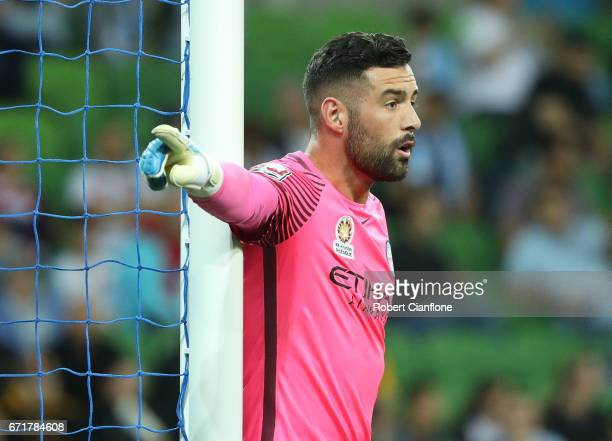Melbourne City goalkeeper Dean Bouzanis gestures during the ALeague Elimination Final match between Melbourne City FC and the Perth Glory at AAMI...