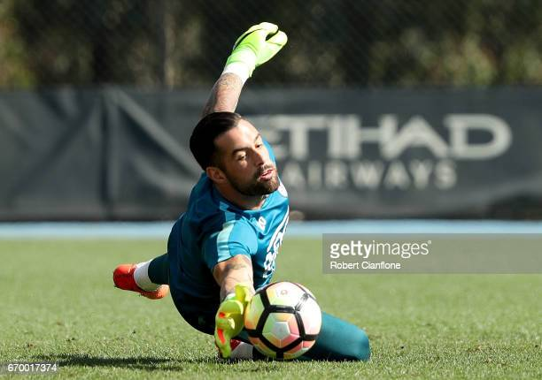 Melbourne City goalkeeper Dean Bouzanis makes a save during a Melbourne City ALeague training session at City Football Academy on April 19 2017 in...