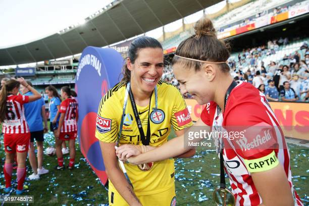 Melbourne City goalkeeper Lydia Williams and Stephanie Catley of Melbourne City celebrate victory at fulltime during the WLeague Grand Final match...
