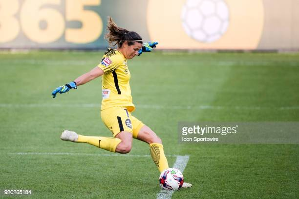 Melbourne City goalkeeper Lydia Williams takes the kick at the WLeague Soccer Grand Final between Sydney FC and Melbourne City at Allianz Stadium in...
