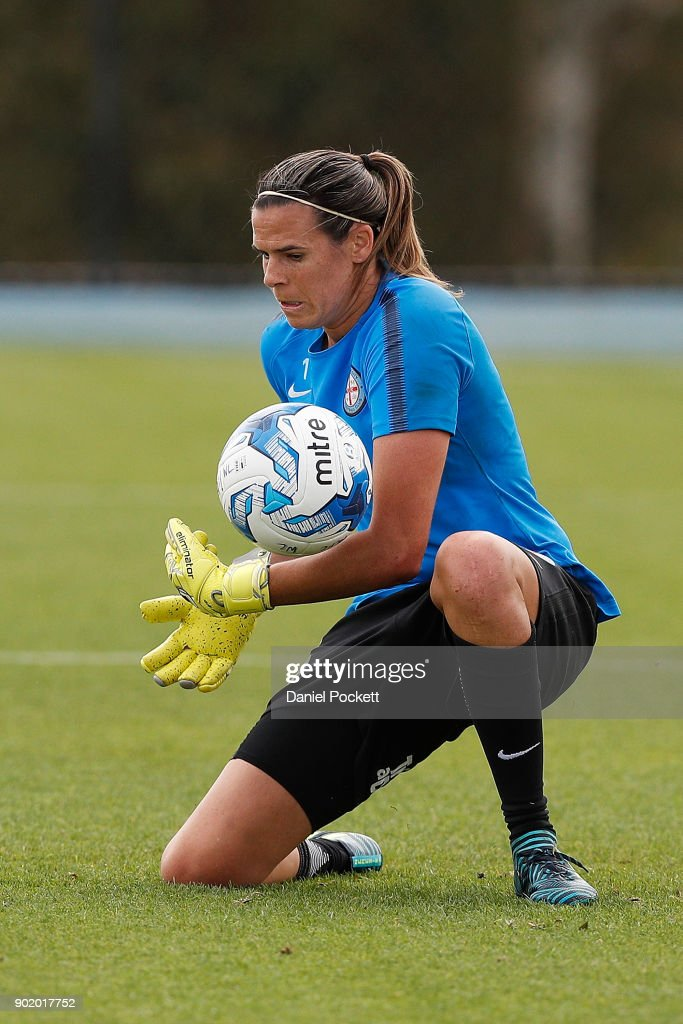 Melbourne City goalkeeper Lydia Williams warms up before the round ten W-League match between Melbourne City and Perth Glory at CB Smith Reserve on January 7, 2018 in Melbourne, Australia.