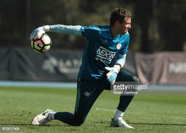 Melbourne City goalkeeper Thomas Sorensen throws the ball during a Melbourne City ALeague training session at City Football Academy on April 19 2017...